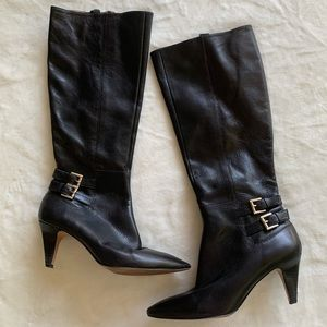 Nine West Black Leather Heeled Knee High Boots